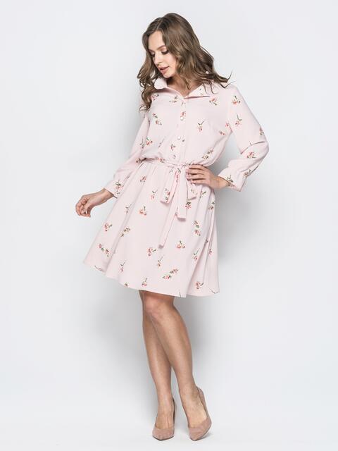 Розовое платье с воротником стойкой и воланами - 19949, фото 1 – интернет-магазин Dressa