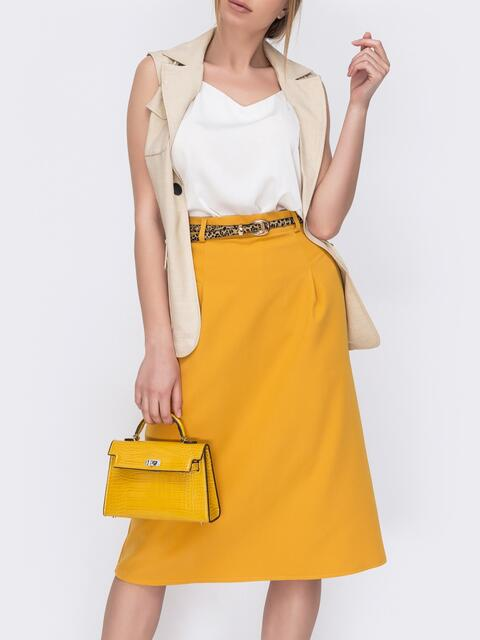 Юбка из костюмной ткани желтого цвета - 47047, фото 1 – интернет-магазин Dressa