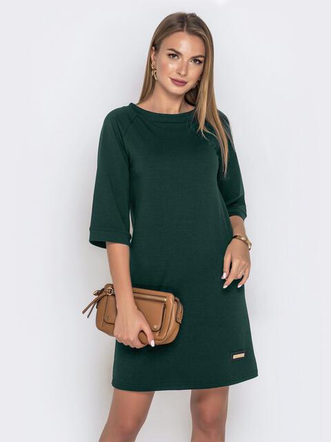 Зеленое платье из двунитки с рукавом-реглан  50560, фото 1