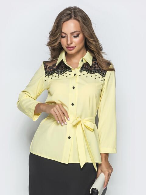 Желтая блузка с кружевной кокеткой - 39960, фото 1 – интернет-магазин Dressa