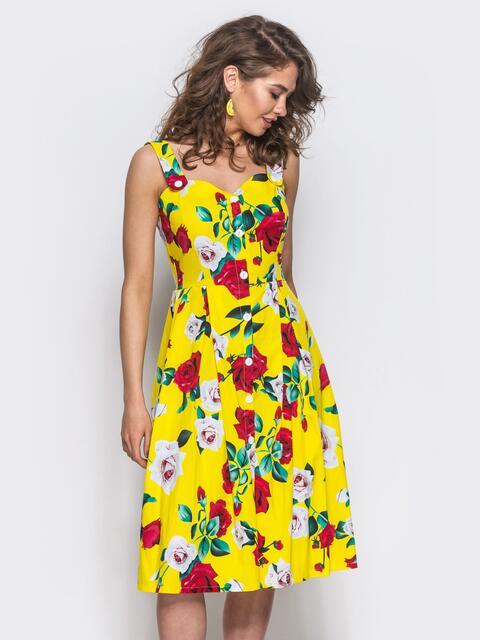 Желтый сарафан на пуговицах с цветочным принтом - 11920, фото 1 – интернет-магазин Dressa