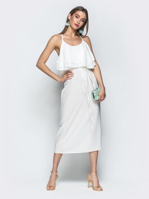 Белое платье на бретелях с воланом по верху - 39387, фото 1 – интернет-магазин Dressa