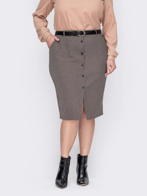 Бежевая юбка батал с пуговицами и разрезом спереди 53116, фото 1