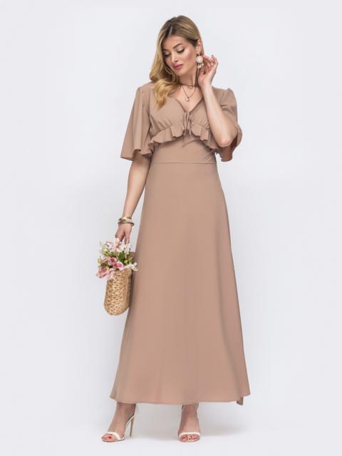 Бежевое платье-макси с оборками на лифе 48488, фото 1