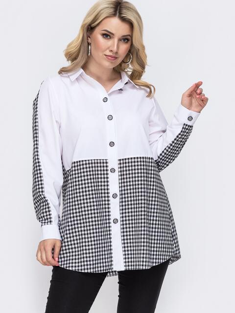 Комбинированная блузка батал в клетку белая 49885, фото 1
