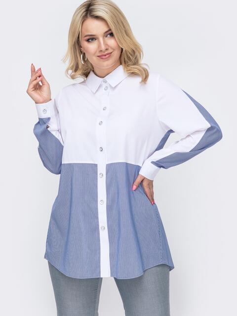 Комбинированная блузка батал в клетку голубая 49886, фото 1