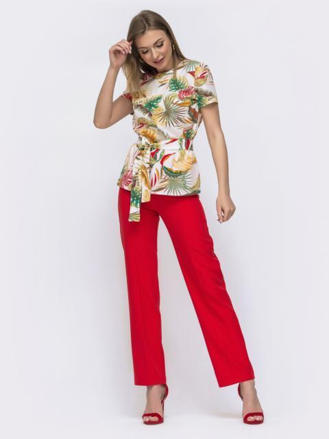 Красный комплект из блузки с принтом и брюк 46993, фото 1