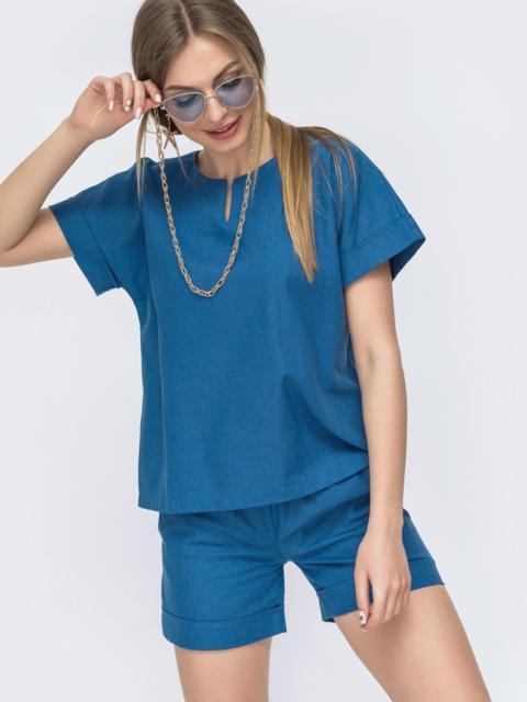 Льняной комплект синего цвета из блузки брюк - 46991, фото 1 – интернет-магазин Dressa