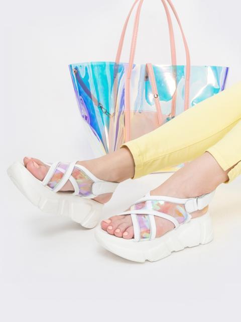Массивные босоножки в спортивном стиле белые - 39611, фото 1 – интернет-магазин Dressa