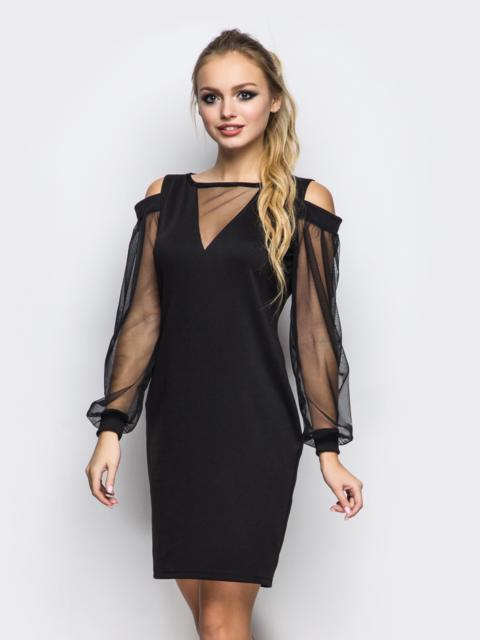 Приталенное платье с открытыми плечами и фатиновыми рукавами черное - 11500, фото 1 – интернет-магазин Dressa
