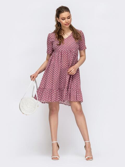 Розовое платье в горошек свободного кроя - 46997, фото 1 – интернет-магазин Dressa