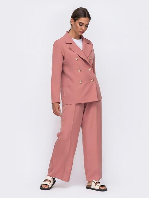 Широкие брюки розового цвета с высокой посадкой 50096, фото 1