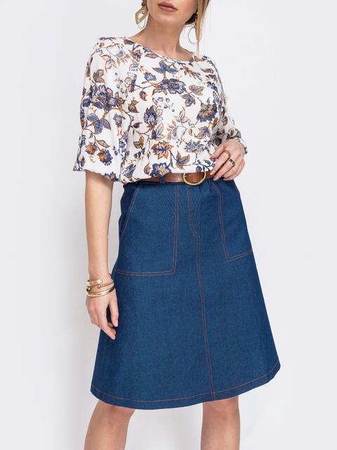 Синяя юбка трапеция на молнии - 47002, фото 1 – интернет-магазин Dressa