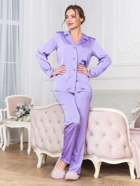 Сиреневая пижама с рубашкой и брюками - 18955, фото 1 – интернет-магазин Dressa