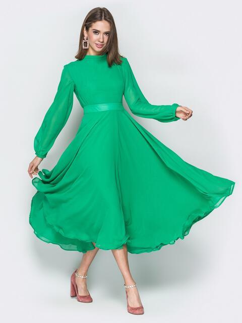Зелёное платье с открытой спиной и юбкой-солнце - 20105, фото 1 – интернет-магазин Dressa