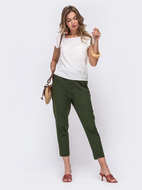 Брючный комплект цвета хаки с блузкой 48216, фото 1