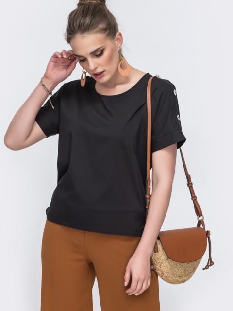 Чёрная блузка свободного кроя - 48218, фото 1 – интернет-магазин Dressa
