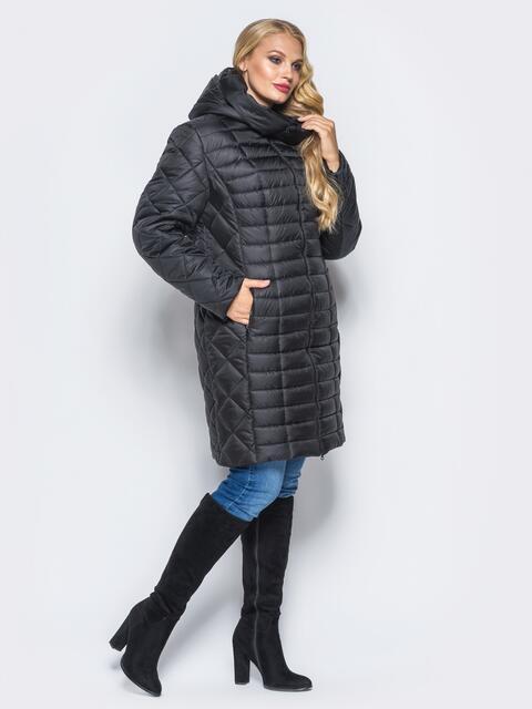 Черная зимняя куртка батал на змейке - 14710, фото 1 – интернет-магазин Dressa