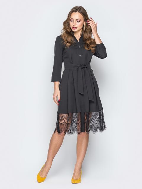 Черное платье-рубашка с кружевом по низу - 19663, фото 1 – интернет-магазин Dressa