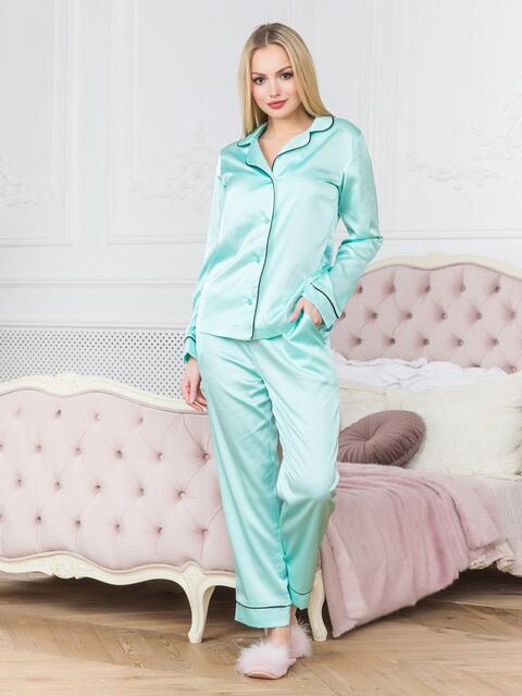 Голубая пижама с окантовкой на рубашке и брюках - 18942, фото 1 – интернет-магазин Dressa