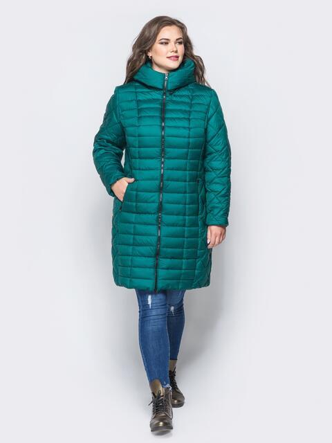 Изумрудная зимняя куртка батал на змейке - 14709, фото 1 – интернет-магазин Dressa
