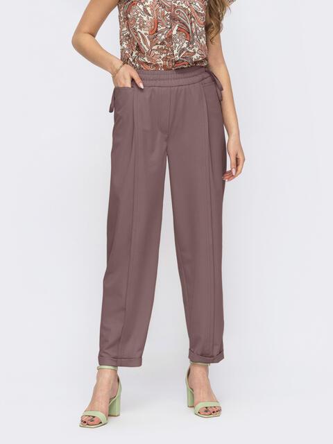 Коричневые брюки прямого кроя на резинке 53746, фото 1