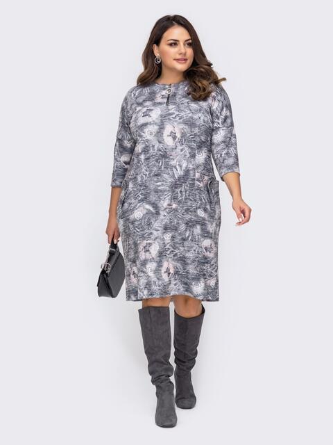 Платье батал серого цвета с принтом 51485, фото 1