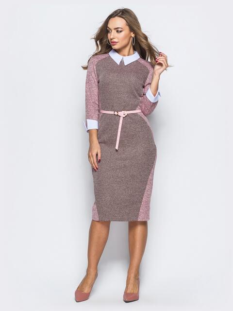 Платье розового цвета с контрастной вставкой спереди - 17915, фото 1 – интернет-магазин Dressa