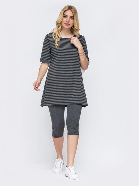 Серый комплект большого размера из туники и бридж - 48662, фото 1 – интернет-магазин Dressa