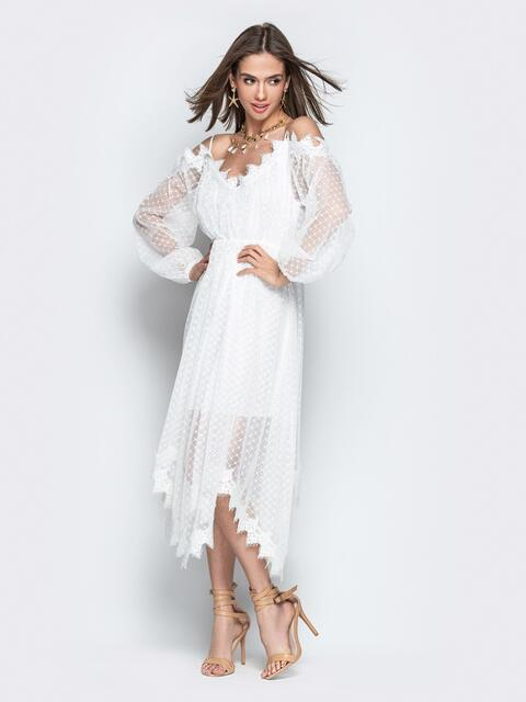 Асимметричное платье с кружевом и резинкой по талии белое - 21279, фото 1 – интернет-магазин Dressa