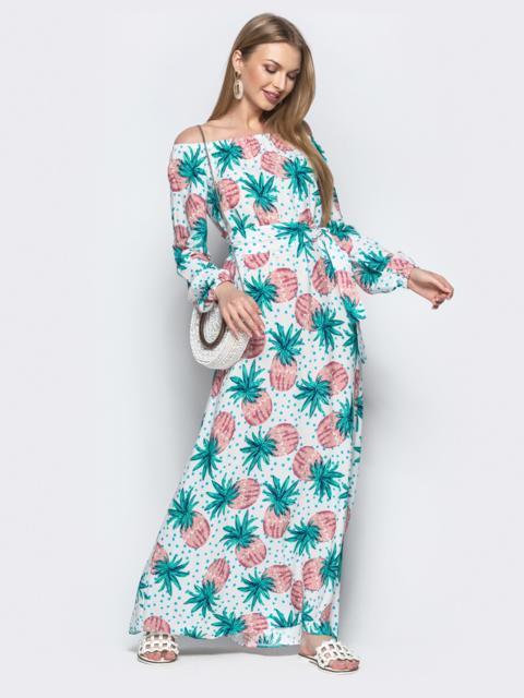 Платье-трапеция с принтом и открытыми плечами белое - 21920, фото 1 – интернет-магазин Dressa