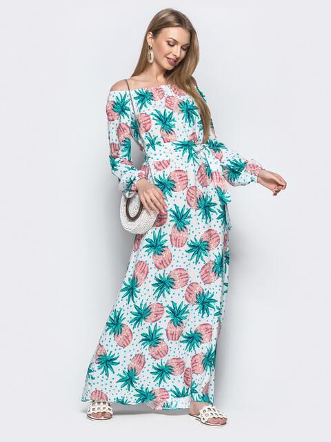 Платье-трапеция с зеленым принтом и открытыми плечами - 21920, фото 1 – интернет-магазин Dressa