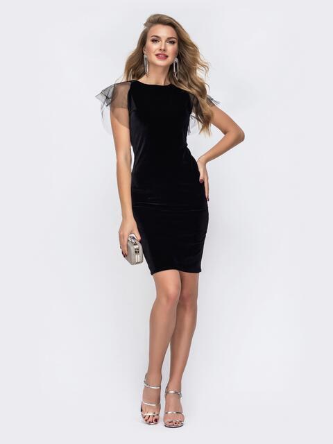 Приталенное платье с V-вырезом по спинке чёрное - 42626, фото 1 – интернет-магазин Dressa