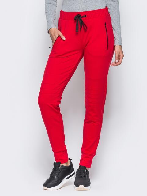 Спортивные штаны с перестрочками на коленях красные - 16537, фото 1 – интернет-магазин Dressa