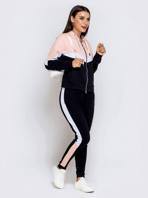 Спортивный костюм со вставками из кофты и штанов чёрный - 40513, фото 1 – интернет-магазин Dressa