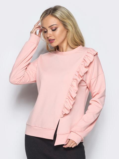 Свитшот розового цвета с рюшей на полочке - 16508, фото 1 – интернет-магазин Dressa