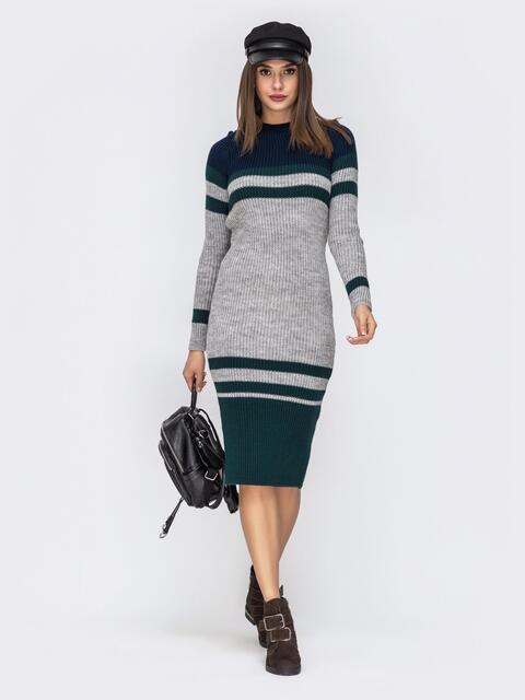 Вязаное платье-миди серого цвета - 42172, фото 1 – интернет-магазин Dressa