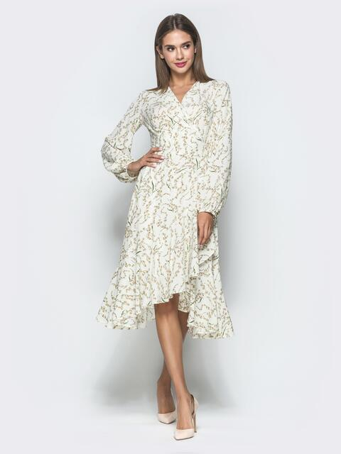 74abde12d7e85 Бежевое платье на запах с принтом - 40117, фото 1 – интернет-магазин Dressa