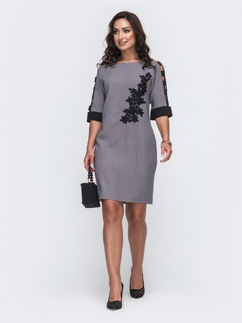 Чёрное платье большого размера с вырезами на рукавах 50011, фото 1