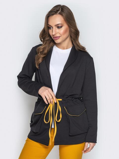 Чёрный жакет с объёмными карманами и кулиской по талии - 20834, фото 1 – интернет-магазин Dressa