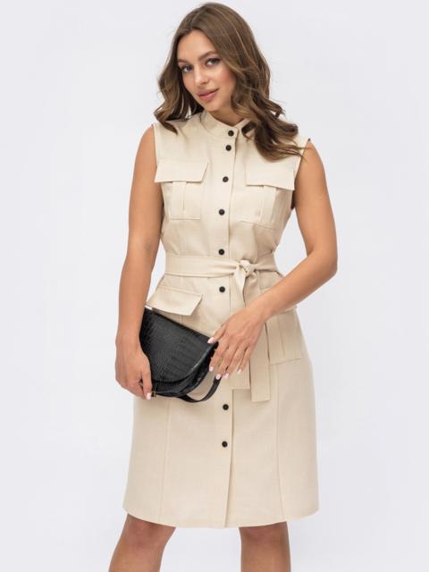 Платье-рубашка прямого кроя бежевое 54159, фото 1