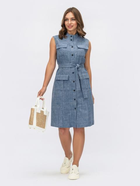 Платье-рубашка прямого кроя синее 54160, фото 2