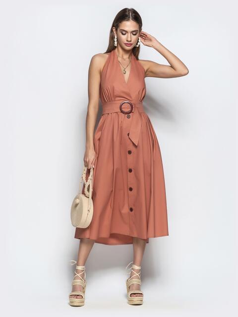 91fe85d644e Хлопковое платье персикового цвета с вырезом
