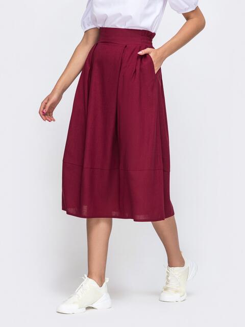 Льняная юбка-баллон бордового цвета 50134, фото 1