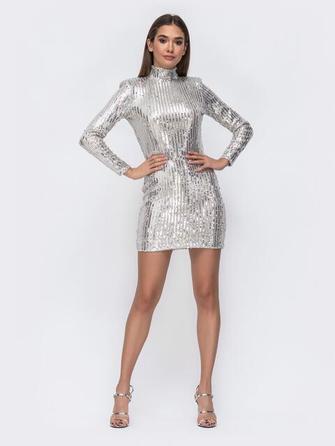 Платье-мини с пайетками и открытой спиной серебристое - 43009, фото 1 – интернет-магазин Dressa