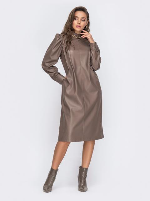Платье-трапеция из эко-кожи с воротником-стойкой 51185, фото 1