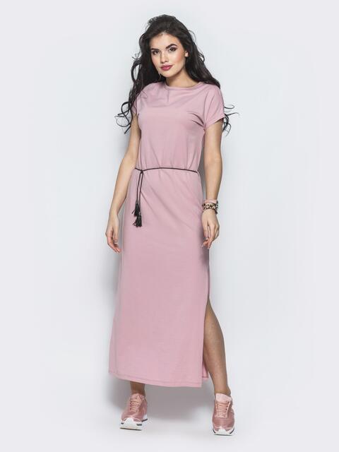 Розовое хлопковое платье-футболка с разрезами по бокам - 12498, фото 1 – интернет-магазин Dressa