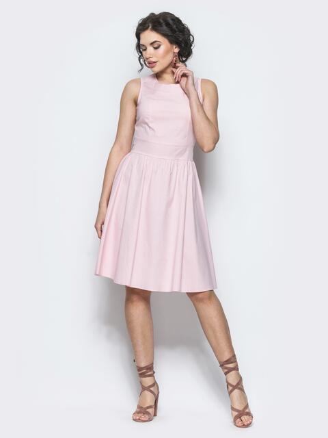Розовое полуприталенное платье с втачным поясом - 12674, фото 1 – интернет-магазин Dressa