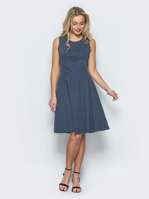 Темно-синее полуприталенное платье с втачным поясом - 12673, фото 1 – интернет-магазин Dressa