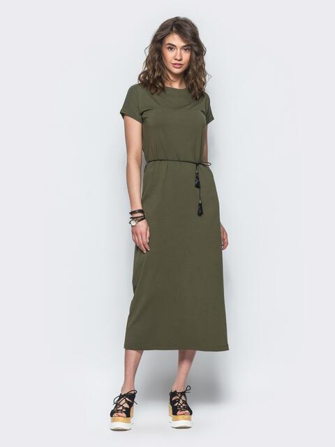 Зеленое хлопковое платье-футболка с разрезами по бокам - 12499, фото 1 – интернет-магазин Dressa